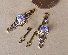 Dolls House Door Furniture 2 Crystal Provincial Knobs On Brass Plate & Keys 706