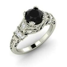 Antique Jewelry Black Moissanite Finish In Sterling Silver Women's Wedding Ring
