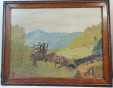 Primitive Framed Oil on Board Painting of 2 Male Elks Fighting