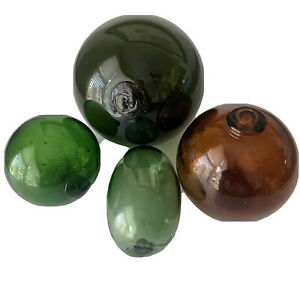 """Lot 4 Colored Glass Fishing Floats Buoys Green Amber 2.5"""" - 5"""" Diameter Marked B"""