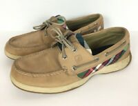 Sperry Top Sider Womens 7.5 Boat Shoes Loafers Tan Beige Leather Plaid Lace Up