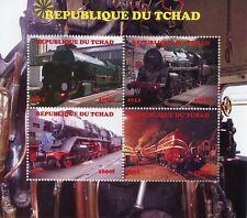 Chad 2011 CTO Steam Trains Engines 4v M/S Railways Rail Stamps