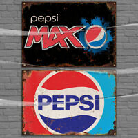 Pepsi Cola Max Vintage Logo Sign Metal Tin Signs / Paper Tiki Bar Pub man cave