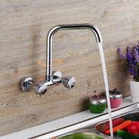 Kitchen Sink Faucet Wall Mounted Brass Bathroom Swivel Spout Mixer Tap Chrome
