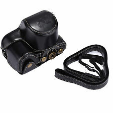 PU Leather Camera Case Cover Bag +Strap for Sony A6000 Nex6 16-50mm Lens black