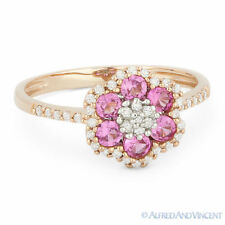 0.74ct Round Cut Pink Lab-Sapphire Diamond 14k Rose Gold Right-Hand Flower Ring