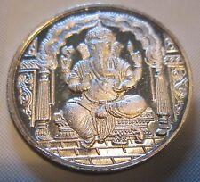 Diwali Ganesha 10 Gram Silver Coin w Ohm Praying India Hindu God New Year