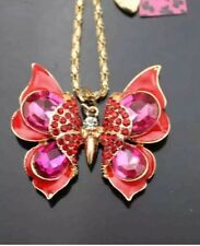 Betsey Johnson Necklace BUTTERFLY Pink Red Enamel Gold Crystals