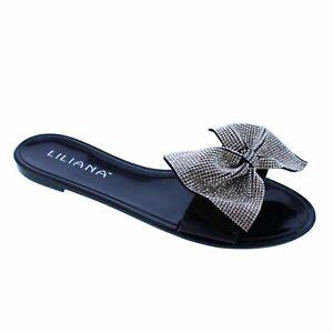 NEW Liliana Jelli-67 Black Rhinestone Bow Jelly Slide Sandal