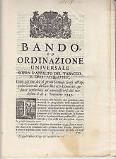 U169-TOSCANA-FIRENZE 1745 APPALTO TABACCO ED ACQUAVITE