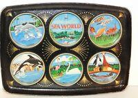 VTG 1976 Sea World Souvenir Tin Tray Trinket Holder bright graphics tourism