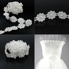 3yds Flower Lace Edge Trim Wedding Bridal Ribbon Dress Applique Sewing DIY White