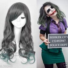 Womens Batman Joker Cosplay Wig Heat Resistant Gray Wave Hair Full Wigs