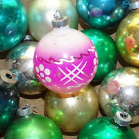 Vintage 12 Made in USA Mercury Glass Christmas Ornaments Gold Green Pink 3 Inch