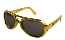 Rock Roll Sunglasses Glasses Shades Gold King of Rock 50s 60 Fancy Dress Costume
