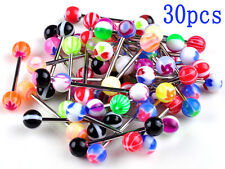 30 X PREMIUM NEWLY Tounge Nipple Ear Rings BARS BARBELL BODY PIERCING JEWELRY