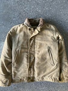 Vintage Military WW2 USN N-1 Deck Jacket Original 1940s Tagged size 36 fits M-L