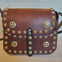 Handmade Western Studded Leather Medium Saddlebag Style Purse Belt Buckle Strap
