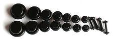 18 pc BLACK PLUGS 00g 0g 2g 4g 6g 8g 10g 12g 14g ear stretching kit gauges