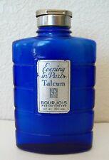 VTG COBALT BLUE BOURJOIS EVENING IN PARIS TALCUM POWDER BOTTLE W/ ORG CONTENTS