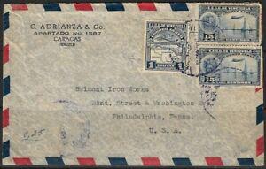 Venezuela 1938 C. Adrianza & Co. Airmail Sent to U.S.A. Tied with Caracas CDS