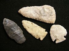 4 AUTHENTIC CHERT POINTS FOUND NEAR BLUE GRASS IN SCOTT CO., IOWA