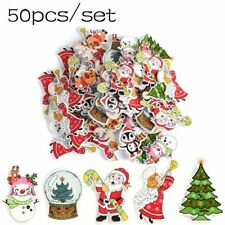 2 Holes Wood Button Cute Christmas Tree Deer Design DIY Scrapbook Clothing Decor