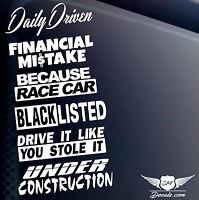 DECAL STICKER VINYL 6 PACK LOT JDM CAR EURO RACE CAR BLACKLISTED TUNER BOOST KDM