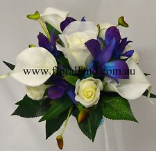 Wedding cake topper silk blue singapore orchid white calla lily cream rose