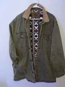 Vintage Woolrich Canvas Long Work Coat Jacket Size XL Olive Green Lined Aztec