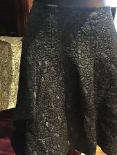 Vintage Black Silk Brocade Flared Skirt