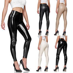 Glamexx24 Damen Kunstleder High Waist Leggings Skinny Hose Leder-Optik Treggings