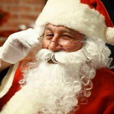 Père Noël Barbe + Perruque de Noël Bonnet Rouge Peluche Lunettes Rond Verres