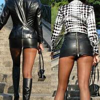 Mode Damen Schwarz Leder Minirock Rock Hohe Taille Bodycon Party Minirock