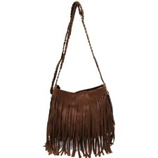 Fringe Tassel Faux Suede Shoulder Messenger Bag Women Handbag Brown E6R9