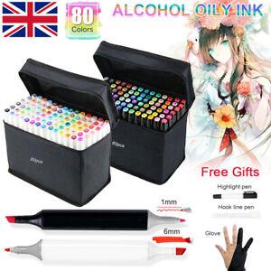 UK 80 Colors Marker Pens Set Copic Touch Dual Heads Art Graphic Sketch Graffiti