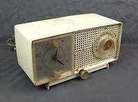 Vintage Mid Century White GE Alarm Tube Radio Clock C436A Parts Repair
