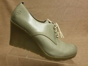 New Dr. Martens MIMI Women Leather Tan High Wedges Lace Up Oxford Booties Sz 11