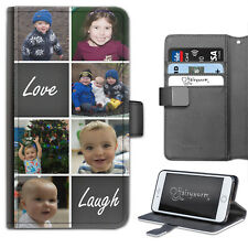 Personalised PU Leather Phone Case Custom Photo Collage Love Laugh Flip Cover