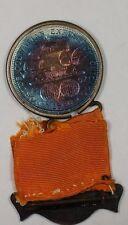 """Columbus Day Badge"" 1893 Columbus Half BEAUTIFUL TONING In Medal and RIbbon GH"