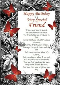 Happy Birthday to a Very Special Friend A5 Card Friendship Best Friend With Love