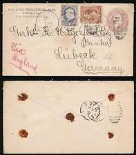 USA TEXAS 1887 UPRATED STATIONERY to GERMANY 2c + 2c + 1c...AUSTIN