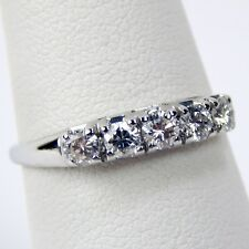 5 Five Stone Diamond Half Band Ring 18 kt White Gold Size 6 3/4 #A3994