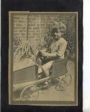 C1930's Photo of Young Boy in a Go-Cart/Push Car