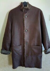 "Mens Brown Faux Sheepskin Over Coat 40/42"" chest Winter Coat"