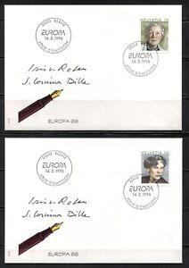 SWITZERLAND 1996, FAMOUS WOMEN, WRITER AND PAINTER, Scott 970-971 on 2 FDC's