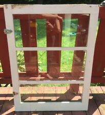 "Vintage Wood 3 Pained Cabinet Door Window 28 3/8""x 38 3/8"" Hinges Glass Panes"
