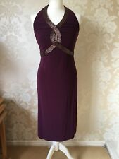 GHARANI STROK LADIES PLUM BEADED COCKTAIL DRESS SIZE 12 BNWT NEW