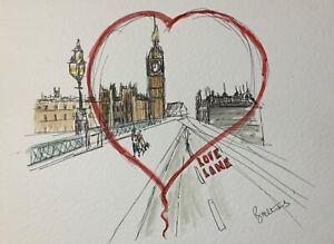 original ink watercolour London heart collectible illustration home dec wall art