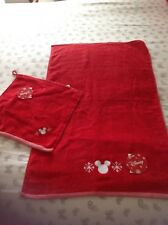DISNEY Red Towel and matching Flannel NEW